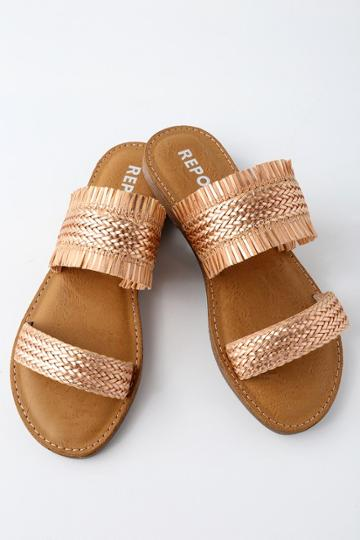 Kristin Cavallari Camille Rose Gold Woven Leather Loafer Slides   Lulus