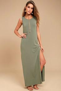 Z Supply Z Supply Marianna Olive Green Sleeveless Maxi Dress