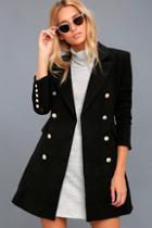 Lulus Captain's Blog Black Double-breasted Coat
