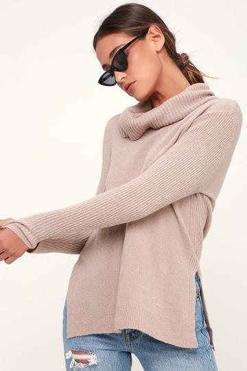 Olive + Oak Brant Light Grey Cowl Neck Knit Sweater   Lulus