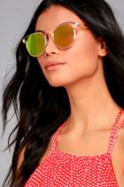 Lulus | Good Golly Gold And Pink Mirrored Sunglasses