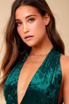 Lulus | Northern Lights Gold Rhinestone Drop Necklace