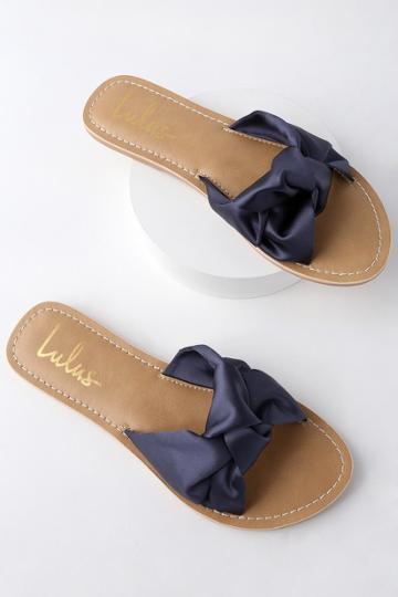 Makenzie Navy Blue Satin Slide Sandal Heels | Lulus