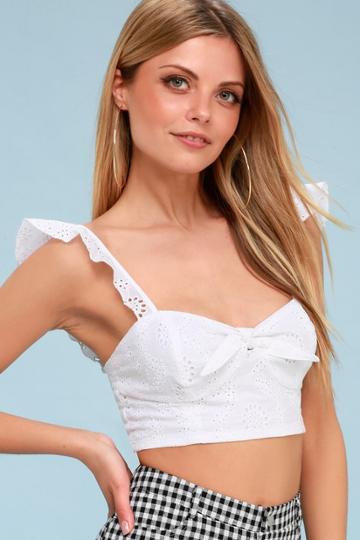 Bb Dakota Corinne White Eyelet Tie-front Bralette | Lulus