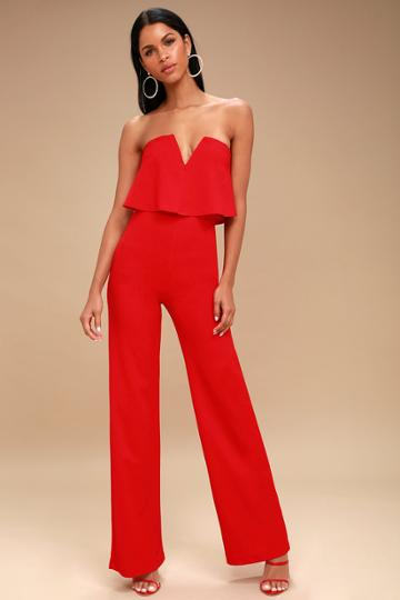 Power Of Love Red Strapless Jumpsuit | Lulus