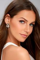 Lulus Shining Brilliance Gold Rhinestone Earrings