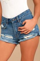 Billabong Just Me Medium Wash Distressed Denim Shorts | Lulus