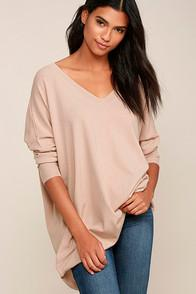 Dreamers Ticket To Cozy Blush Pink Oversized Sweater