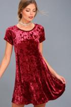 Z Supply | Nivea Wine Red Crushed Velvet Swing Dress | Size Large | Lulus