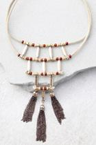 Lulus Plentiful Rust Red And Beige Choker Necklace