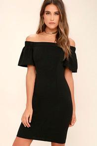 Ina Fashion Do It Right Black Off-the-shoulder Midi Dress