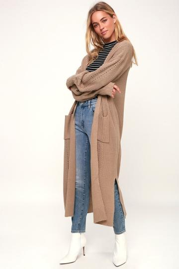 Leilanni Beige Knit Long Cardigan Sweater | Lulus
