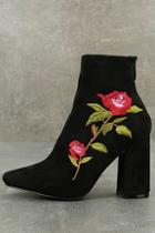 Cape Robbin Berenice Black Suede Embroidered Mid-calf Boots