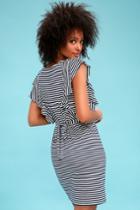 Olive + Oak Keta Navy Blue And White Striped Tie-back Dress | Lulus