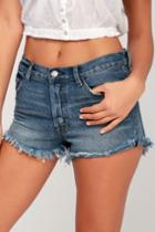 On Twelfth Short Story Medium Wash Denim Cutoff Shorts | Lulus