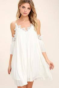 Lulus Give Thanks White Lace Off-the-shoulder Dress