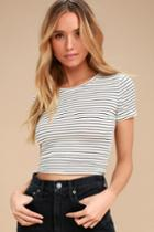 Limitless Is More White Striped Cropped Tee   Lulus