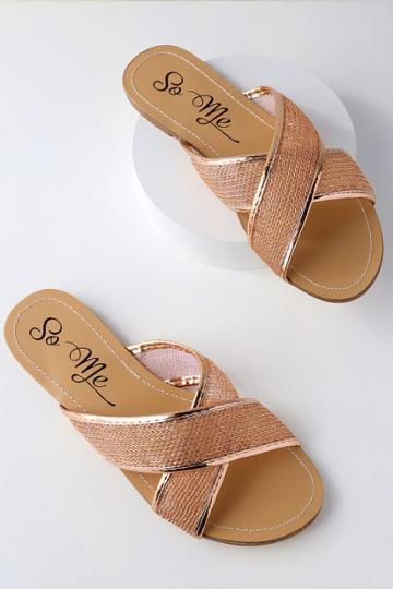 So Me Portia Rose Gold Mesh Slide Sandal Heels | Lulus