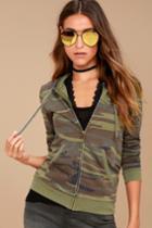 Z Supply   Seniority Green Camo Print Hoodie   Size Large   Lulus