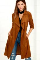 Lulus Take On The World Tan Suede Trench Coat