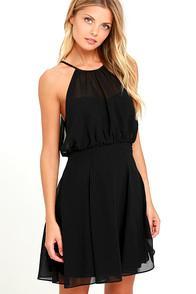 Marine Blu Mesmerizing Moment Black Skater Dress