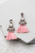 Lulus Tuscan Sun Gold And Pink Rhinestone Tassel Earrings