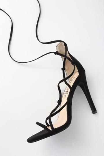 So Me Colina Black Suede Lace-up Heels | Lulus