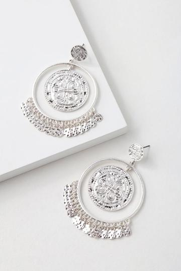Lamina Silver Coin Hoop Earrings | Lulus