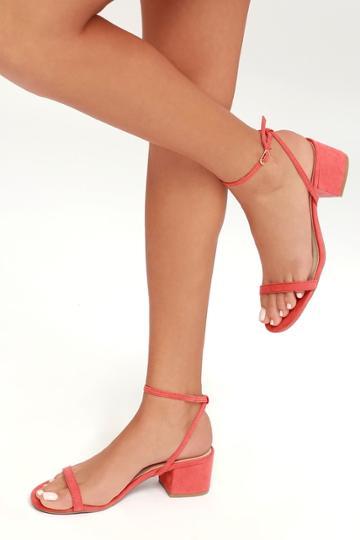 Julie Coral Rose Suede Ankle Strap Heels | Lulus