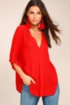 Lush Savvy Sweetheart Red Top | Lulus