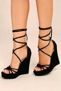 Liliana Macy Black Suede Lace-up Wedges