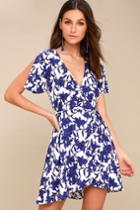 Morning Blooms Blue And White Floral Print Wrap Dress | Lulus