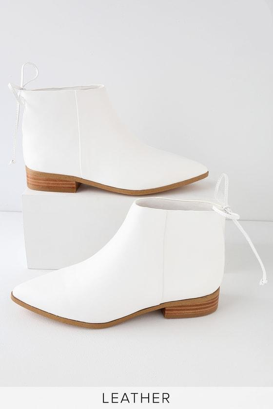 Splendid Niva White Leather Pointed Toe Ankle Booties | Lulus