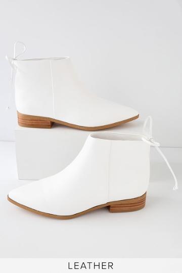 Splendid Niva White Leather Pointed Toe Ankle Booties   Lulus