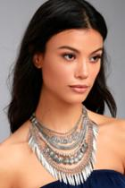 Lulus | Fortune Teller Silver Layered Choker Necklace
