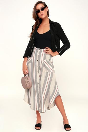 O'neill Seymour Beige Multi Stripe Button-front Midi Skirt   Lulus