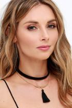 Lulu*s Bella Amore Gold And Black Tassel Choker Necklace