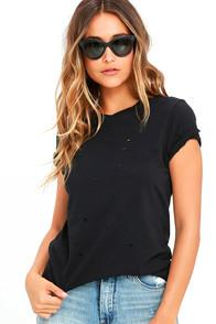 Breckelle's In The Raw Distressed Washed Black Tee