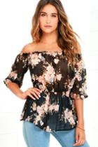 Rokoko | Floral It's Worth Black Floral Print Off-the-shoulder Top | Size Small | 100% Polyester | Lulus