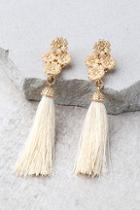 Lulus Beneath The Flowers Gold And Beige Tassel Earrings