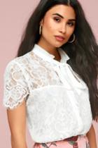 Sophia White Lace Tie-neck Top | Lulus
