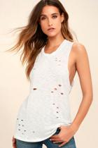 Lulus Total Package White Distressed Muscle Tee