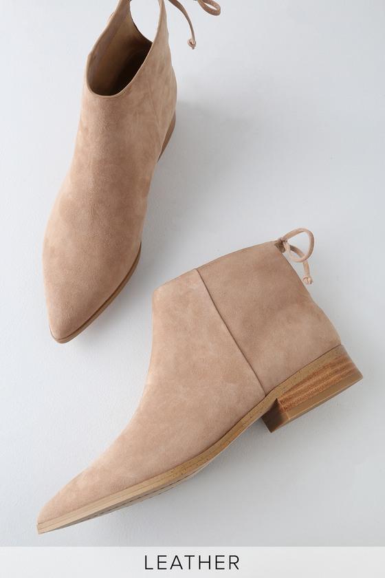 Splendid Niva Wood Suede Leather Pointed Toe Ankle Booties | Lulus