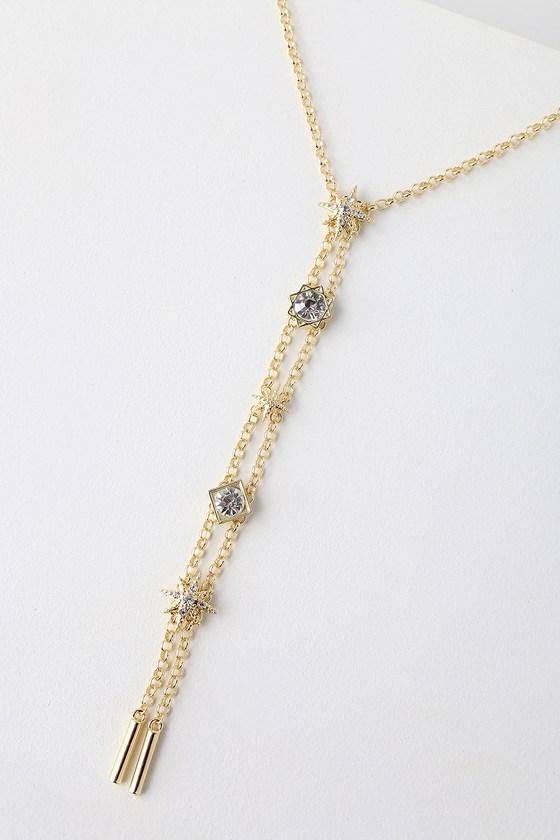 Tereza Gold Rhinestone Star Drop Necklace   Lulus