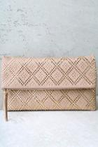 Lulus Crowd Pleaser Taupe Studded Clutch