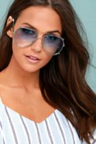 Lulus | Hot Springs Silver And Light Blue Aviator Sunglasses