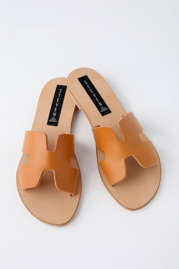 Steven Greece Cognac Leather Slide Sandal Heels | Lulus