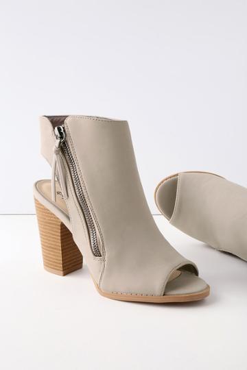 Qupid Bartlett Taupe Nubuck Peep-toe Ankle Booties | Lulus