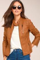 Tcec Peace Of Mind Tan Vegan Leather Moto Jacket   Lulus