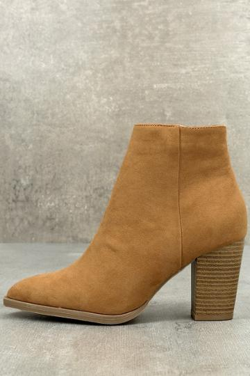 Qupid Annelise Camel Suede Ankle Booties | Lulus